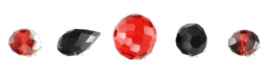 Verschiedene Glasschliffperlen
