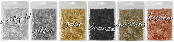 Quetschperlen silber-, gold-, bronze-, messing- & kupferfarben