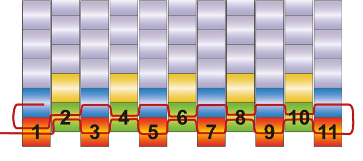 einfhrung in die peyote technik schematische darstellung - Perlen Weben Muster