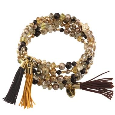 Memory Statement Armband mit Perlen und Quasten