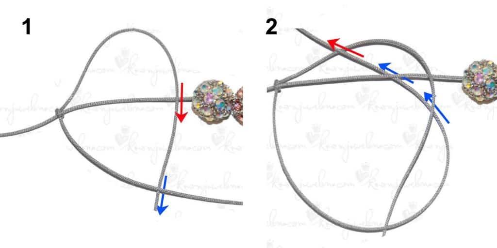 Anleitung Shamballa Armband - halber Knoten links gelegt