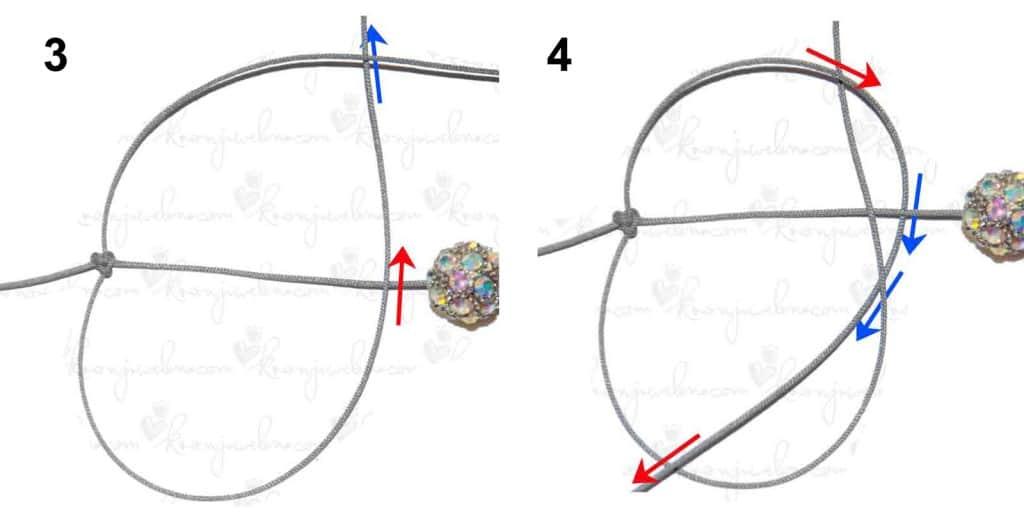 Shamballa Armband mit Makramee-Knoten (Schritt 3 & 4)