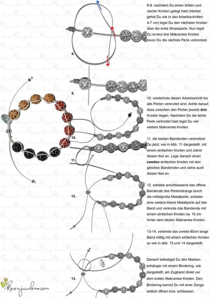 Shamballa Fan-Armband mit kostenloser Anleitung 2