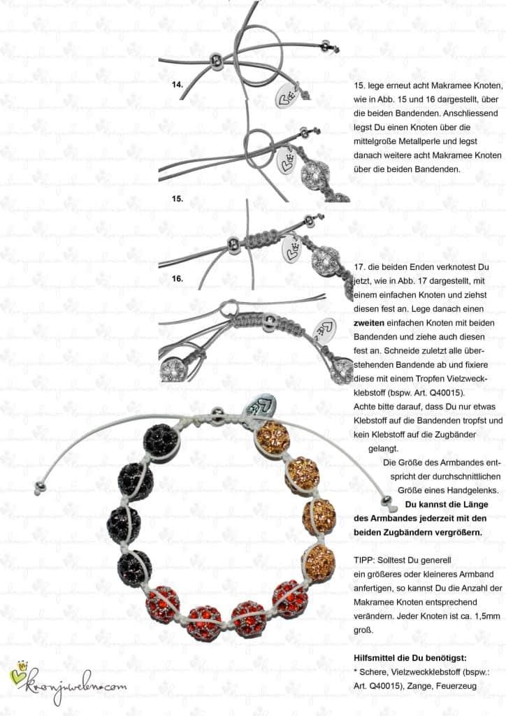 Shamballa Fan-Armband mit kostenloser Anleitung 3