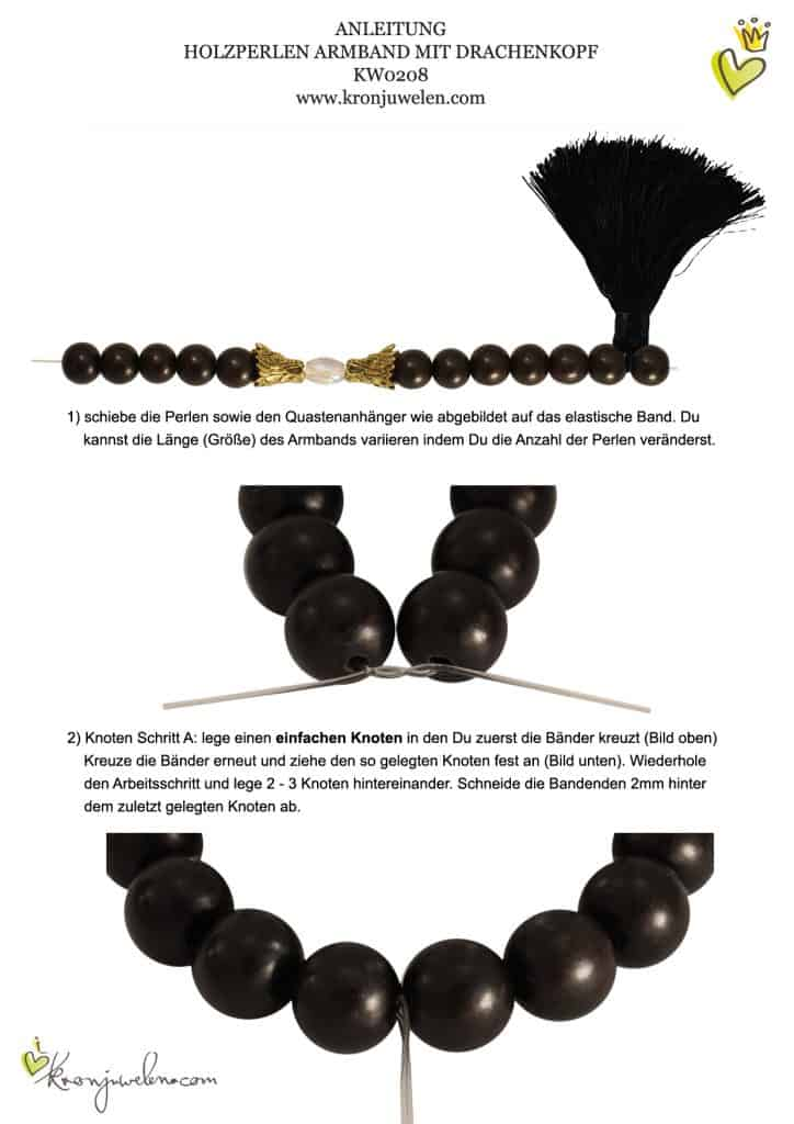 Anleitung Holzperlen Armband mit Drachenköpfen