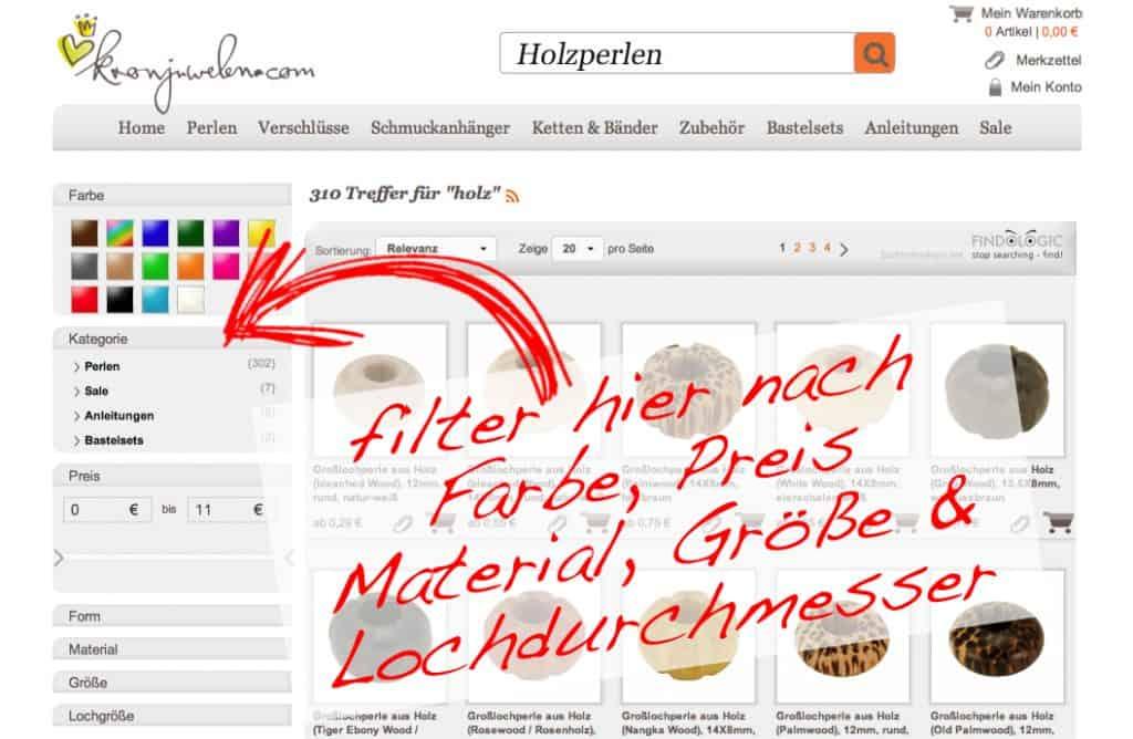 Perlensuche - Filterfunktion kronjuwelen.com