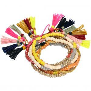 Armband Set aus Satin Bändern von kronjuwelen.com aus Rocailles Perlen